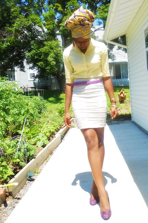 purple belt - scarf - beige pencil H&M skirt - light yellow button up top