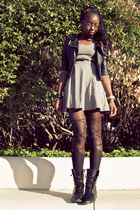 black leather H&M jacket - black combat H&M boots - heather gray basic H&M dress