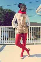 eggshell H&M scarf - ruby red tights - camel H&M romper - UO flats