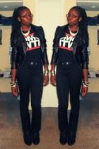 black studded Nomi boots - black motorcycle H&M jacket - black omg wtf shirt