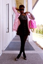 black Charlotte Russe tights - light pink boyfriend H&M blazer