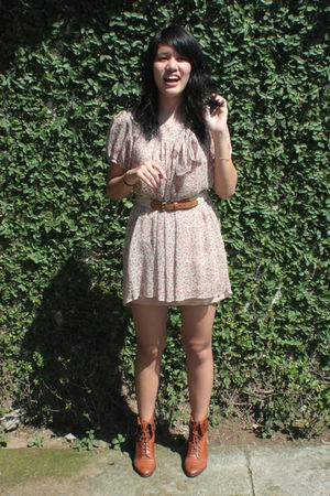 brown thrifted shoes - beige thrifted dress