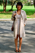 asos dress - Thrift Store coat - Hush Puppies loafers