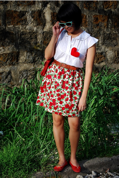 red skirt - white Esprit blouse - red Ylla shoes - brown Cole Haan belt - blue F