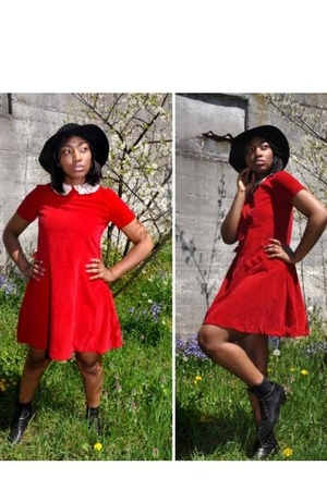 60s Red Velvet Dress w/ Lace Collar