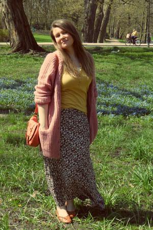 dark brown new look skirt - pink H&M cardigan