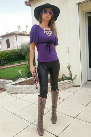 purple H&M top - bubble gum Stella McCartney boots - black H&M hat