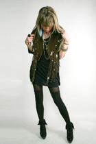 vintage vest - black kohls dress - H&M tights - H&M socks - GoJane boots