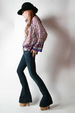 vintage blouse - Levi Strauss jeans - stripper shoes