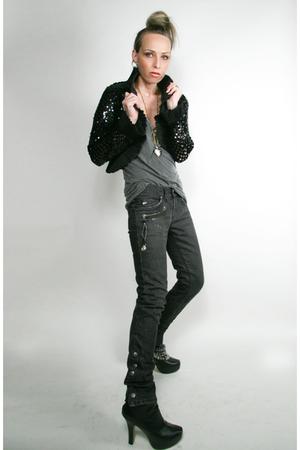black vintage jacket - black Miss Sixty jeans - Cathy Jean boots