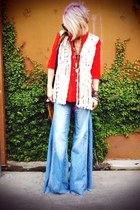 wide leg free people jeans - macrame Winter Kate vest - tunic Zara blouse