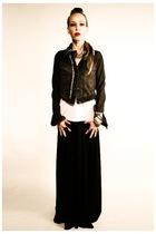 black Lux jacket - white American Apparel t-shirt - black Victorias Secret dress