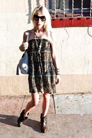 vintage dress - All Saints boots - vintage purse