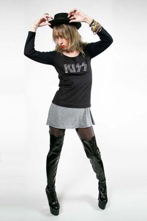 black vintage top - gray Target dress - black stripper boots