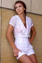 white pink lips shorts - white Target shirt - pink Target bra - gold vintage acc