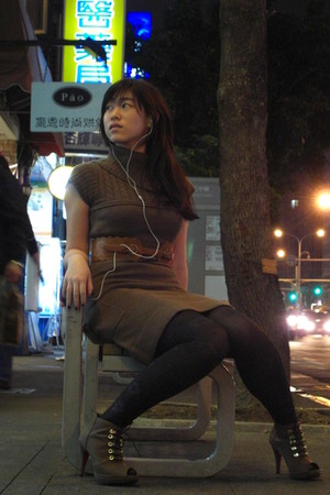 brown Forever 21 dress - orange belt - boots - gray tights