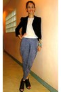 Blazer-harlem-printed-pants-black-leather-sofab-heels