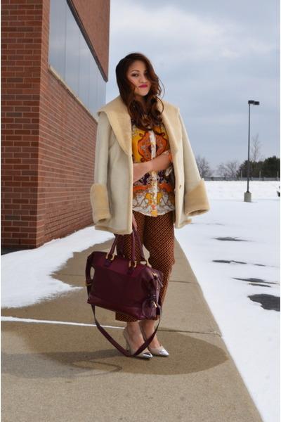 fur trim calvin klein coat - maroon Diane Von Furstenburg bag