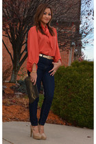 button up blouse - high waist pants - high heel loafers