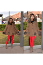 pants - tan boots - faux fur poncho cape