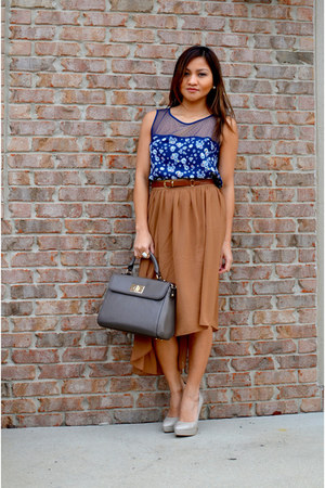sheer floral blouse - square bag - mullet skirt skirt - nude heels