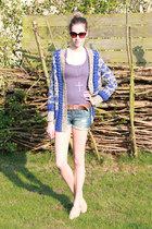violet SwayChic sweater - blue Bershka shorts