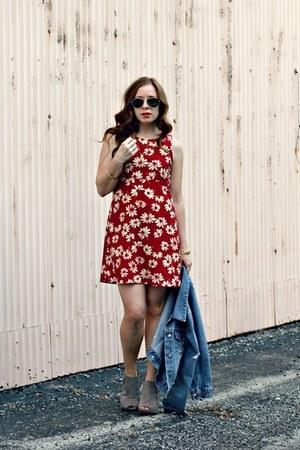 floral dress - denim jacket