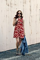 floral dress - denim jacket