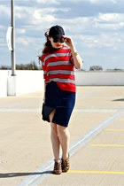 baseball hat - stripes shirt - jean skirt - cutout wedges
