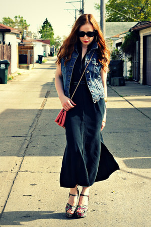 black maxi dress - cross-body bag - floral wedges - denim diy vest
