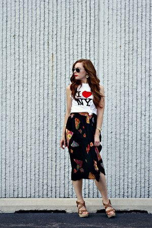 floral midi skirt - tank top diy t-shirt