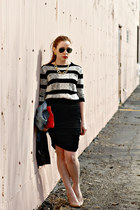 skirt - sweater - red bag - pumps