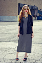 gold necklace - long dress - black cardigan