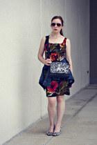 jean denim jacket - floral dress - black coach diy bag