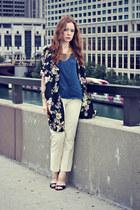 silk tank top - kimono cardigan - pants