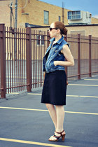 black dress - bag - denim diy vest