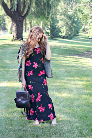 backpack bag - floral dress dress - camo jacket