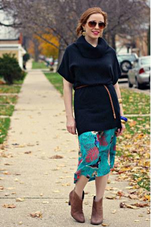 boots - sweater - skirt