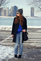 sweater - coat - jeans - hat