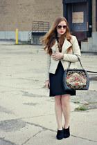 faux leather jacket - black dress - bag