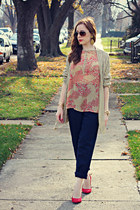 blouse - pants - cardigan - heels