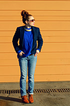 blazer - boots - jeans - sweater