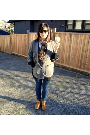 burnt orange Topshop boots - navy skinny blue Levis jeans - silver grey menswear