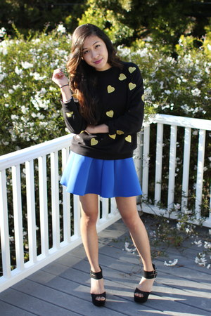 black Forever 21 sweater - blue Choies skirt - black asos heels