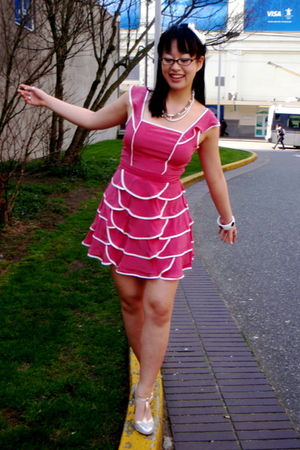 pink Forever 21 dress - silver Oh Deer shoes - white Forever 21 accessories - wh