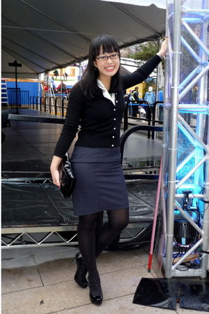 black Club Monaco cardigan - blue H&M skirt - white H&M shirt - black le chateau