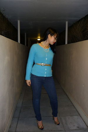 blue Plenty cardigan - blue Urban Behaviour jeans - yellow Aldo shoes - silver A
