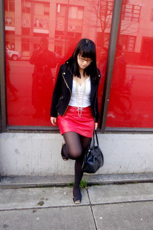 black H&M coat - white Salvation Army shirt - red vintage from mother skirt - ye