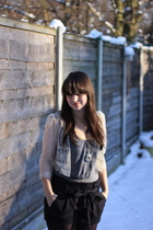 white Topshop cardigan - silver munthe plus simonsen top - black Miss Selfridge