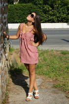 ruby red Stradivarius dress - black H&M sunglasses - white bronx sandals